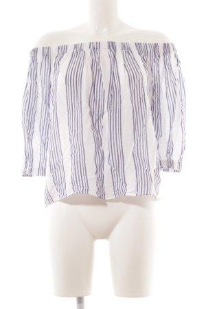 Mango Schlupf-Bluse weiß-stahlblau Streifenmuster Casual-Look