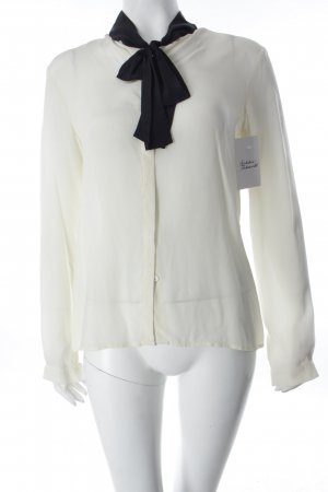 Mango Schluppen-Bluse creme-schwarz klassischer Stil