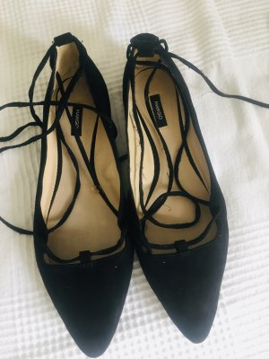 Mango Strappy Ballerinas black
