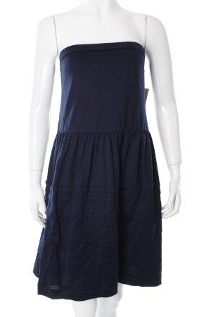 Mango schulterfreies Kleid dunkelblau Stofflagen-Detail
