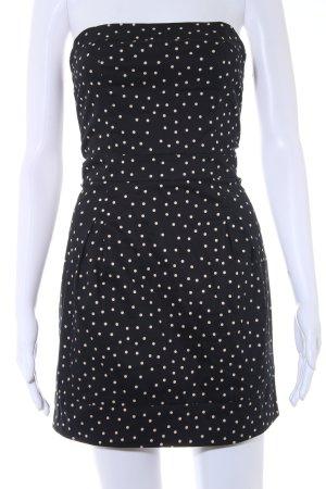 Mango schulterfreies Kleid schwarz-creme Punktemuster Casual-Look