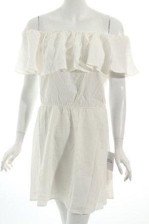 Mango schulterfreies Kleid weiß Romantik-Look