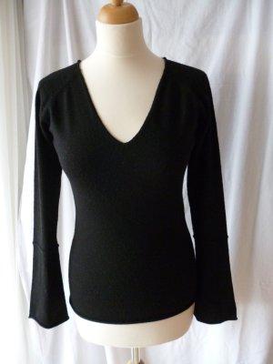 Mango schwarzer Pullover mit V-Ausschnitt in L