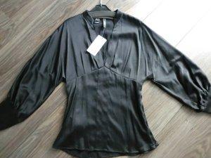 Mango Blusa de manga larga negro Seda