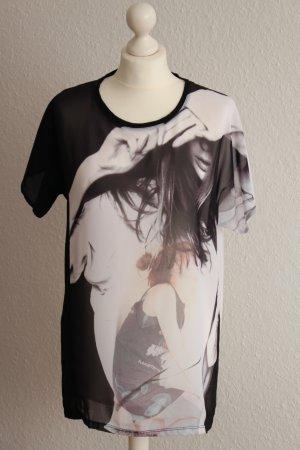 Mango Shirt-Bluse Longshirt Chiffon Oberteil Schwarz-Weiß Print M 38