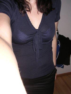 Mango V-Neck Shirt dark blue