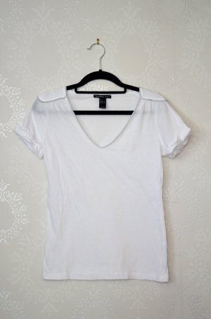 Mango Shirt Epauletten Basic Clean Cleanchic Silberkette V-Ausschnitt