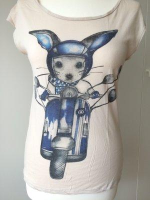 Mango Shirt Gr. M beige Hase blau bunny kurzarm
