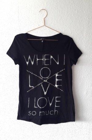 Mango Shirt mit Nieten Black mit Print