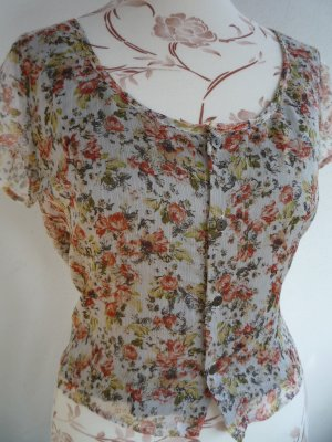 Mango Shirt Top Oberteil Sommer Blumen XS 34 S 36 Bluse Boho Floral
