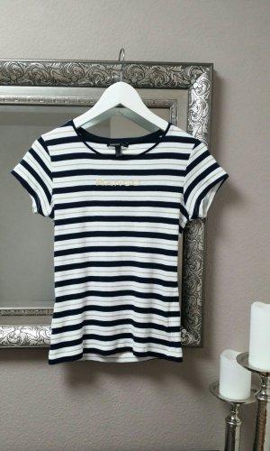 Mango Shirt TShirt Streifen Schwarz Weiß Gold Gr. S M