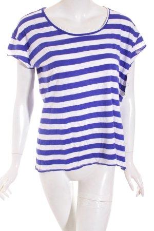 Mango Shirt weiß-blau Streifenmuster Casual-Look