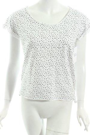 Mango Shirt weiß-schwarz Punktemuster Casual-Look