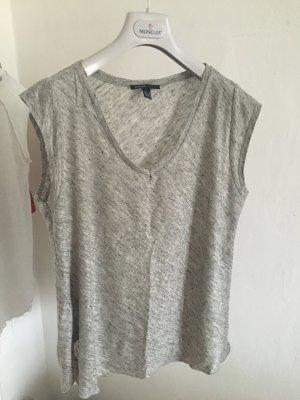 Mango Shirt XS 34 36 grau Leinen tshirt ausschnitt basic lässig oversized blog