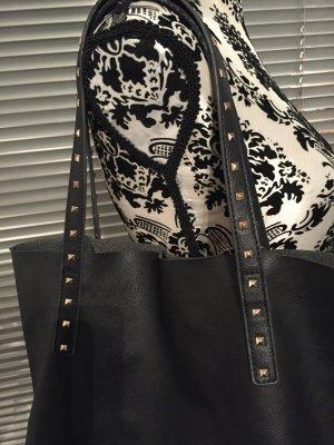 Mango Shopper-Bag - Schwarz mit Nieten