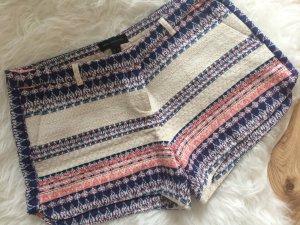 Mango Shorts 38 M neu Tweed Boucle Sommer creme blau rot bestickt