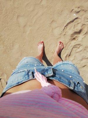 Mango Shorts bianco sporco-azzurro