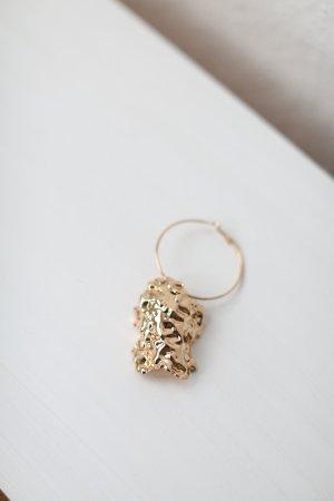 Mango Single Earrings Nugget Ohrring Gold Vintage Look XXL