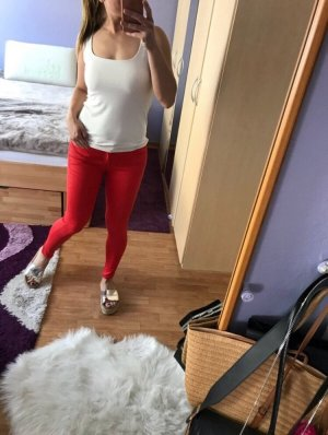 Mango Trousers bright red