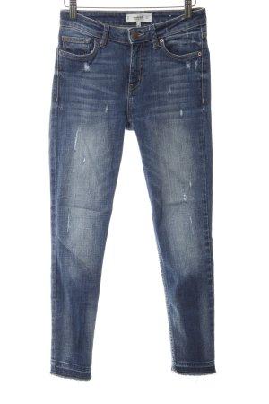 Mango Skinny Jeans dunkelblau Used-Optik