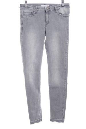 Mango Skinny Jeans hellgrau Used-Optik