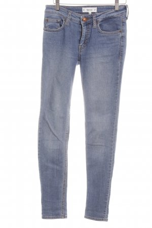 Mango Skinny Jeans kornblumenblau Washed-Optik