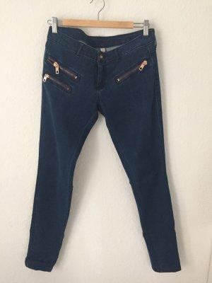 Mango Skinny Jeans mit Reißverschlüssen Blau