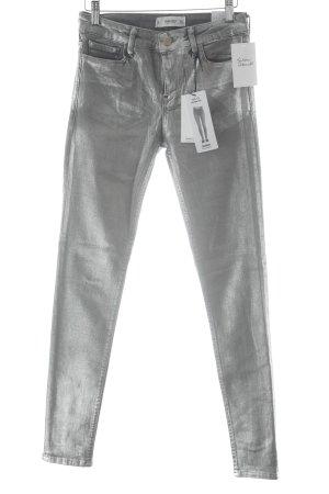 Mango Skinny Jeans silberfarben-hellgrau Glitzer-Optik