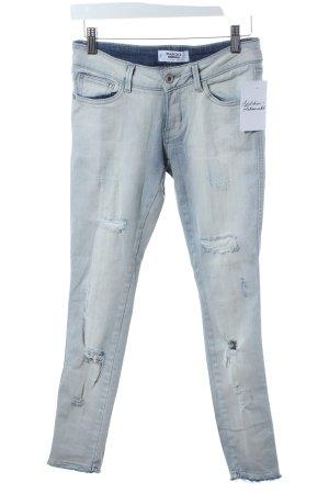 Mango Skinny Jeans wollweiß-hellblau Destroy-Optik