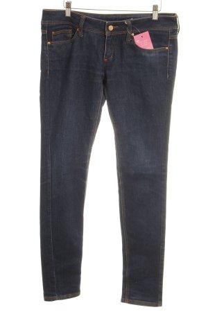 Mango Slim Jeans dunkelblau Webmuster Casual-Look