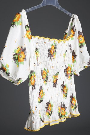Mango Smok Bluse Schulterfrei Romantisch Blumen 38 40 42 M L XL Boho Puffärmel off shoulder