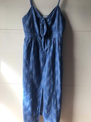Mango Cut out jurk neon blauw Linnen