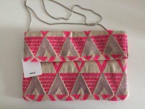 Mango Sommer Tasche beige pink silber neu mit Etikett