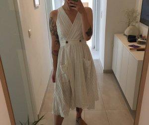Mango Vestido a media pierna blanco Algodón