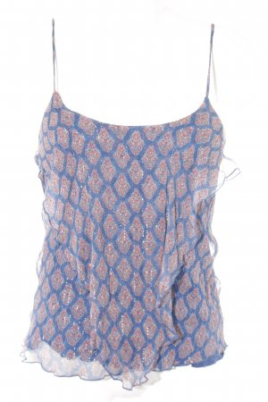 Mango Spaghetti Strap Top steel blue-bright red floral pattern layered look