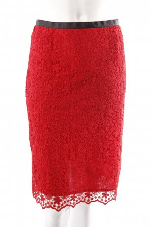Mango lace skirt red