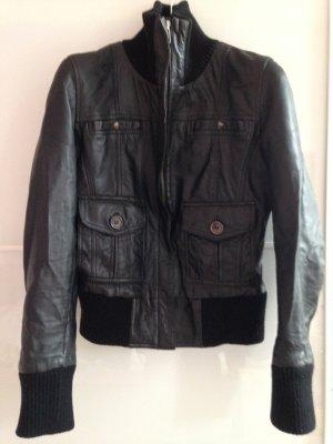 Mango Sportswear Lederjacke schwarz