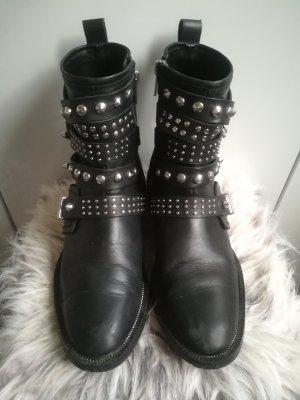 Mango Stiefel aus Leder schwarz