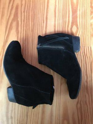 Mango Stiefelette Boots Verlourleder schwarz