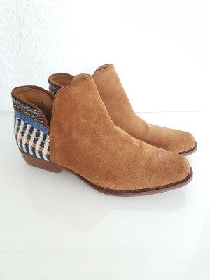 MANGO Stiefeletten, Western-Boots, Ethno-Stickerei, Gr.37, cognac, Wildleder