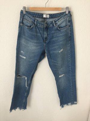 Mango Straight Jeans Destroyed Blau