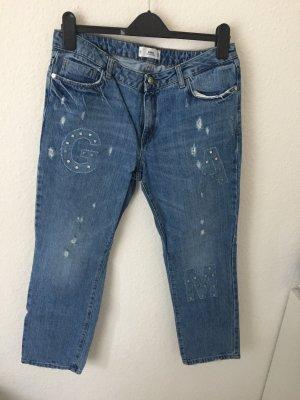 Mango Straight Jeans mit Details Blau