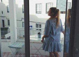 MANGO Streifen Blau Kleid Volant Baumwolle