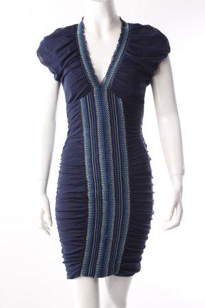 Mango Stretch-Kleid dunkelblau Ziernähte
