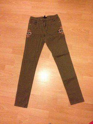 Mango Stretch Röhre Jeans Hose khaki 36 S Ethno grün