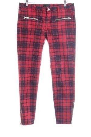Mango Pantalon strech bleu foncé-rouge motif à carreaux style punk