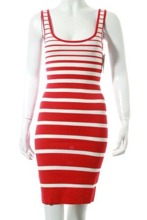 Mango Stretchkleid weiß-rot Streifenmuster Party-Look