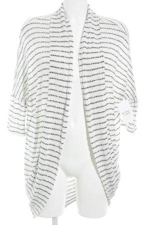 Mango Strick Cardigan weiß-schwarz Streifenmuster Casual-Look
