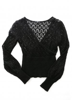 MANGO Strick Pullover V-Ausschnitt schwarz – XS