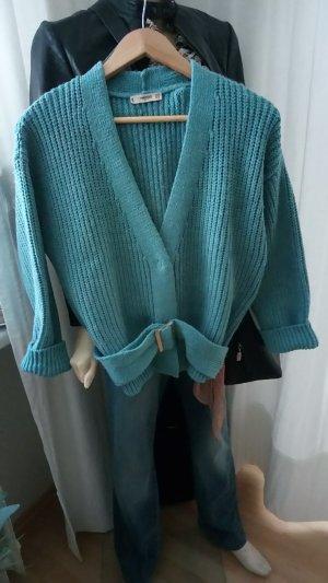 Mango Coarse Knitted Jacket turquoise-petrol